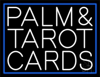White Palm And Tarot Cards Block Neon Sign