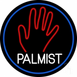 White Palmist Red Palm Blue Border Neon Sign