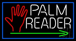White Palm Reader With Green Arrow Neon Sign
