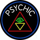 White Psychic Logo And Blue Border Neon Sign