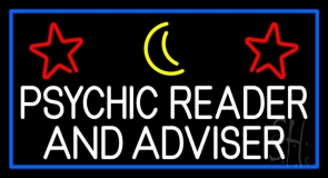 White Psychic Reader And Advisor With Blue Border Neon Sign