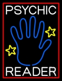 White Psychic Reader With Blue Palm Neon Sign