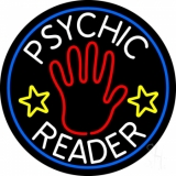 White Psychic Reader With Red Palm Blue Circle Neon Sign