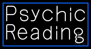 White Psychic Reading And Blue Border Neon Sign