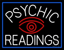 White Psychic Readings And Red Eye Neon Sign