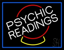 White Psychic Readings Crystal Blue Border Neon Sign