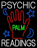 White Psychic Readings Green Palm With Logo Neon Sign