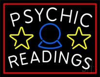White Psychic Readings Red Border Neon Sign