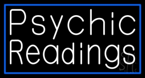 White Psychic Readings With Blue Border Neon Sign