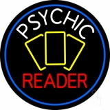 White Psychic Red Reader Yellow Cards And Blue Border Neon Sign