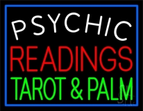 White Psychic Red Readings Green Tarot And Palm Neon Sign