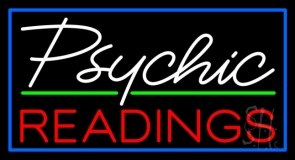 White Psychic Red Readings With Border Neon Sign