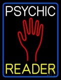 White Psychic Yellow Reader Blue Border Neon Sign