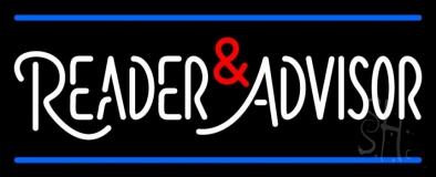 White Reader Advisor And Blue Line Neon Sign