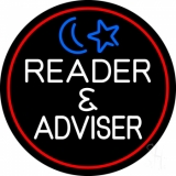 White Reader And Advisor Red Border Neon Sign