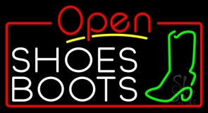 White Shoes Boots Open Neon Sign