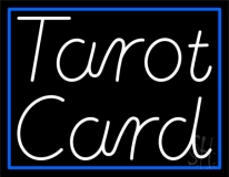 White Tarot Card With Blue Border LED Neon Sign