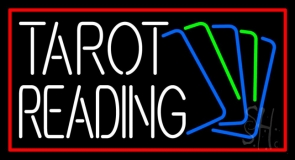 White Tarot Reading With Cards LED Neon Sign