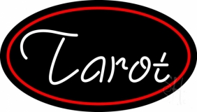 White Tarot Red Border LED Neon Sign
