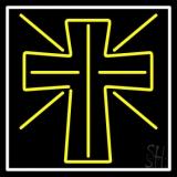 Yellow Christian Cross Neon Sign