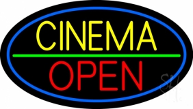 Yellow Cinema Open LED Neon Sign