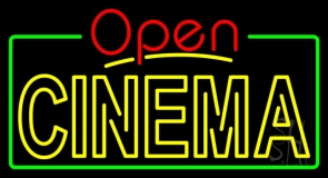 Yellow Cinema Open With Border LED Neon Sign