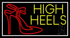 Yellow High Heels With Logo Neon Sign