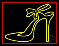 Yellow High Heels With Ribbon Neon Sign