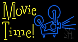 Yellow Movie Time With Logo Neon Sign