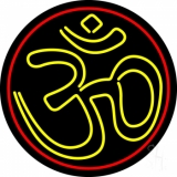 Yellow Om With Border Neon Sign