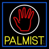 Yellow Palmist Block With Logo Blue Border Neon Sign