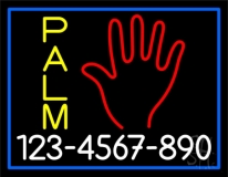 Yellow Palm White Number Neon Sign