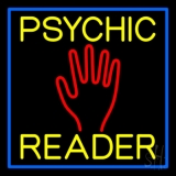 Yellow Psychic Reader Blue Border Neon Sign