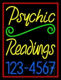 Yellow Psychic Readings With Phone Number Neon Sign
