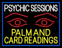 Yellow Psychic Sessions With Red Eye Neon Sign