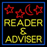 Yellow Reader And Advisor Blue Border Neon Sign