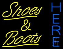 Yellow Shoes And Boots Here Neon Sign