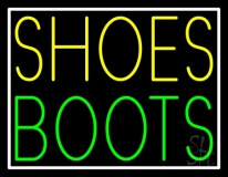 Yellow Shoes Green Boots With Border Neon Sign