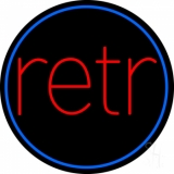 Blue Border Red Retro Circle Neon Sign
