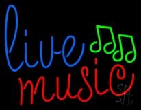 Blue Live Music Cursive Neon Sign
