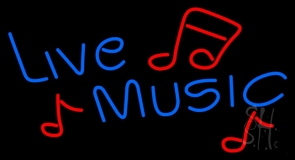 Blue Live Music Red Notes Neon Sign