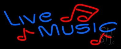 Blue Live Music With Red Notes Neon Sign