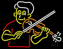 Boy Playing Violin LED Neon Sign