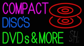 Compact Discs Dvds More Neon Sign