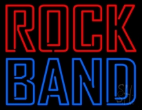 Double Stroke Red Rock Blue Band Neon Sign