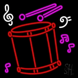 Drum With Musical Note Neon Sign