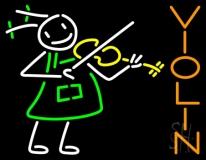 Girl Playing Violin Neon Sign