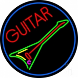 Green Guitar LED Neon Sign
