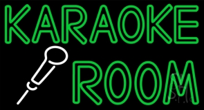 Green Karaoke Rooms Neon Sign