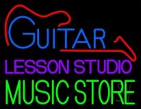 Guitar Lesson Studio Music Store Neon Sign